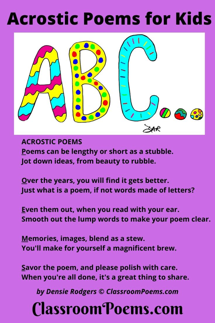 ABCs of acrostic poems. By Denise Rodgers on ClassroomPoems.com.