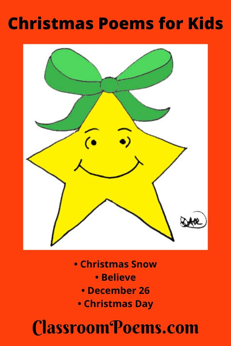 Christmas star drawing. Funny Christmas poems for kids.