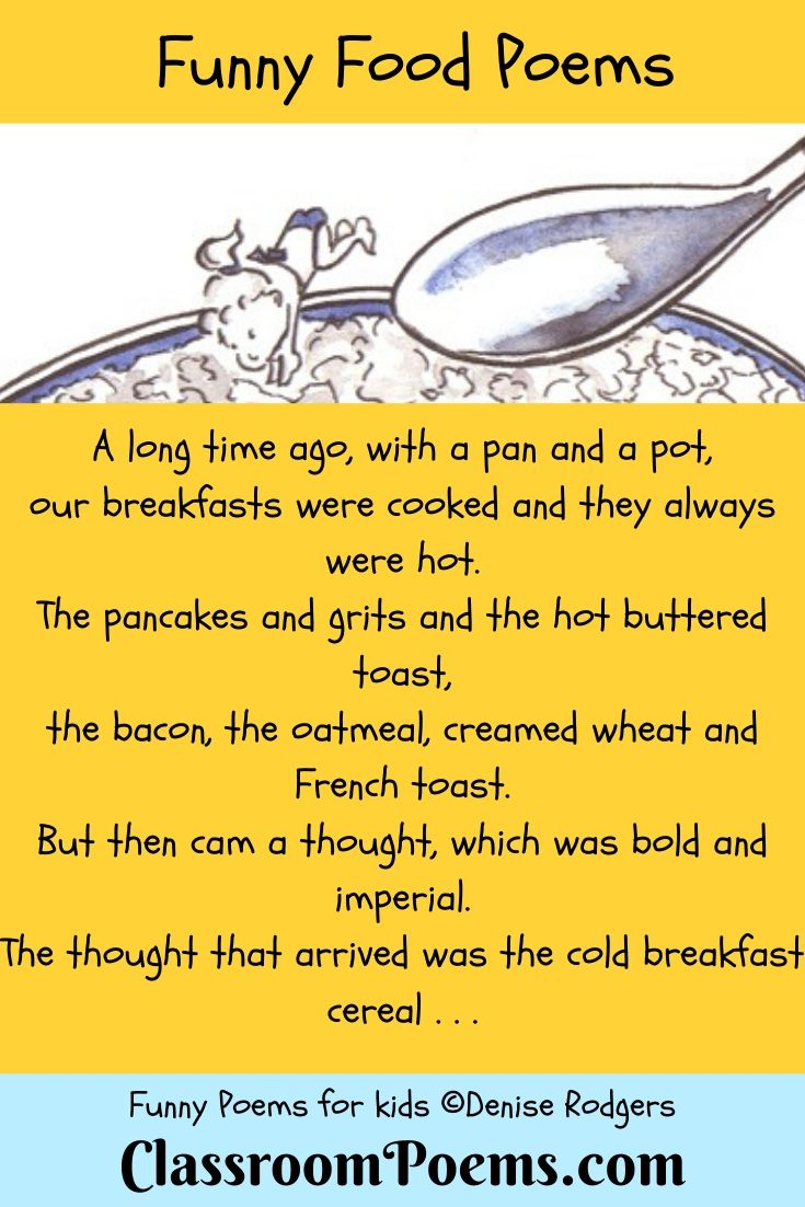 Food poem. Kids diving into cereal bowl.