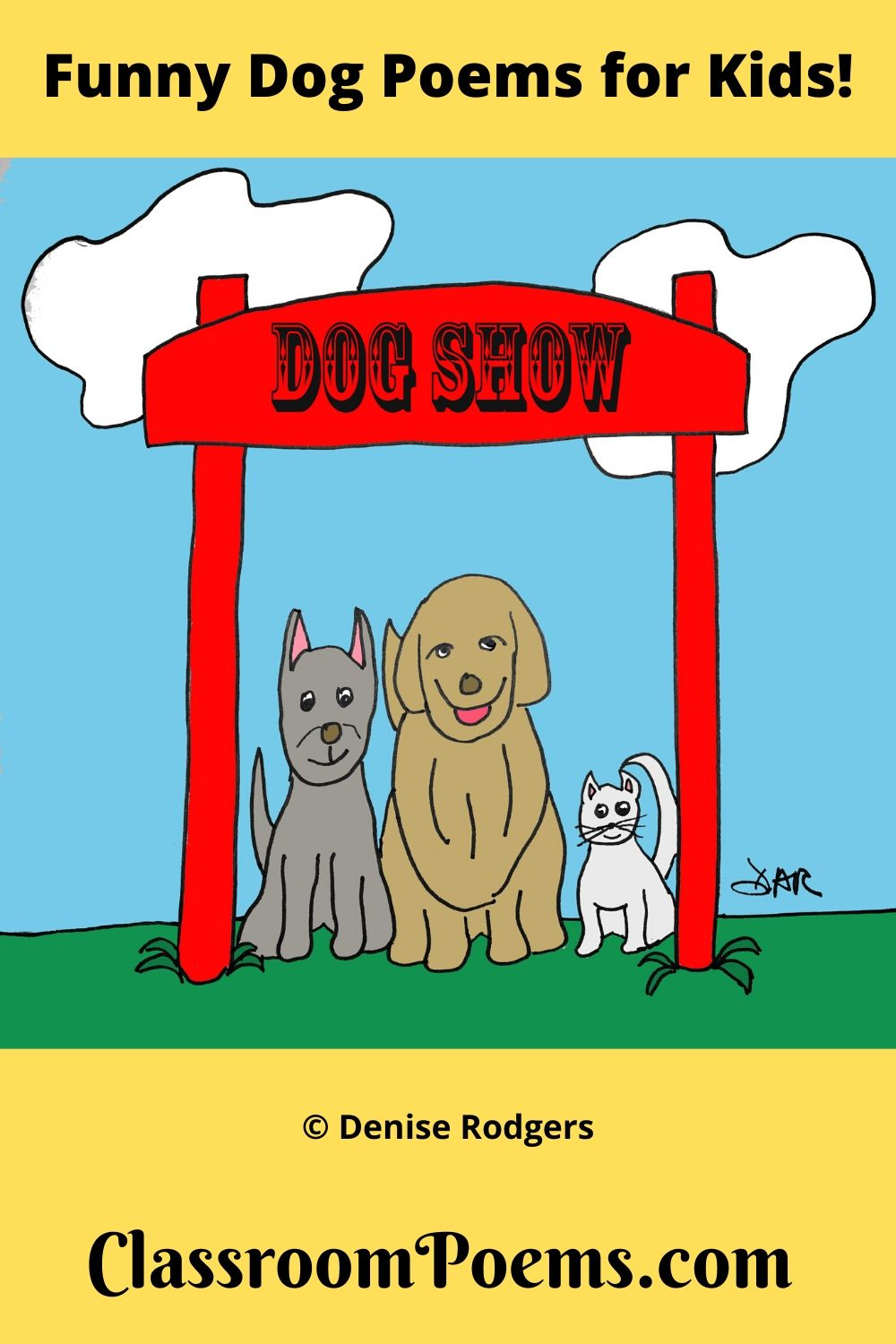 Dog Show cartoon. Dog Show drawing. Funny dog poems.