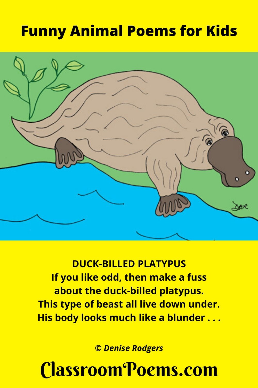 Duck-billed Platypus, a funny animal poem for kids by Denise Rodgers on ClassroomPoems.com.