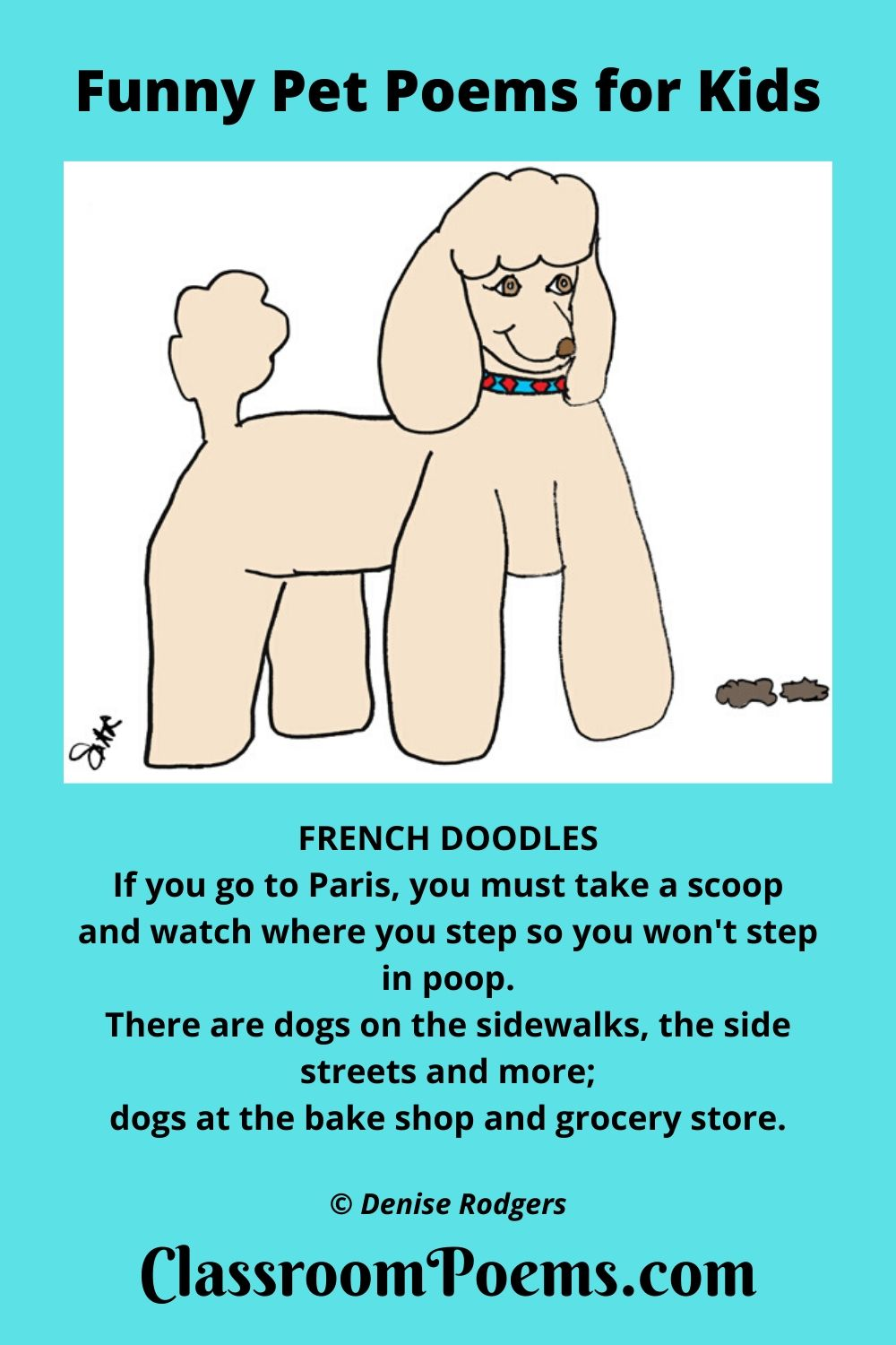 Funny dog poems, funny pet poems, French Doodles (a poem about poop) by Denise Rodgers on ClassroomPoems.com.