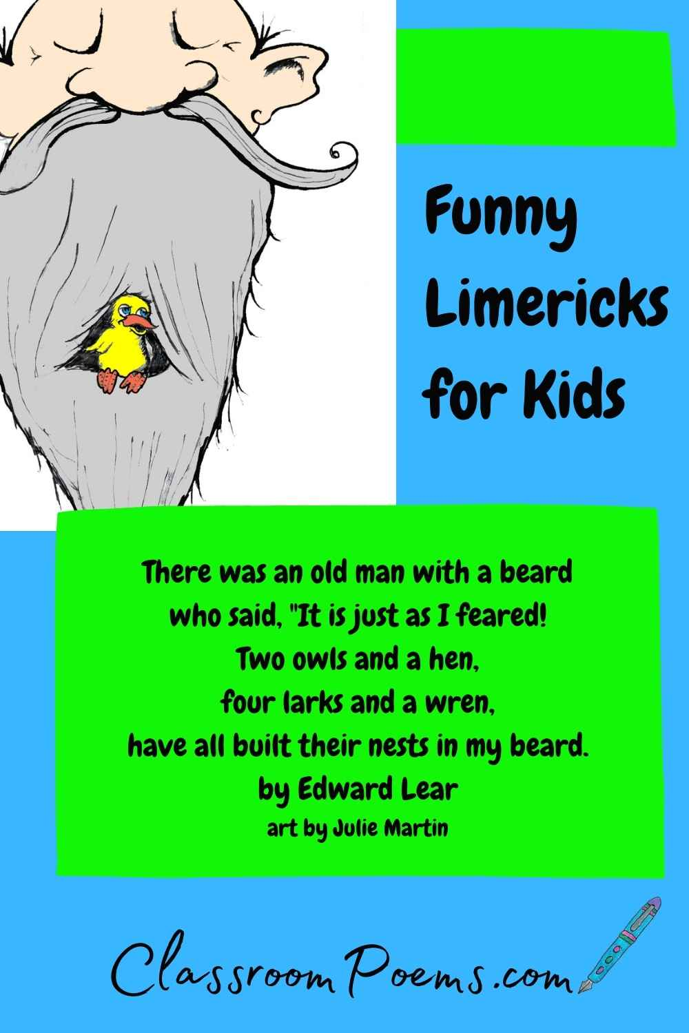 Funny Limerick poems on ClassroomPoems.com.