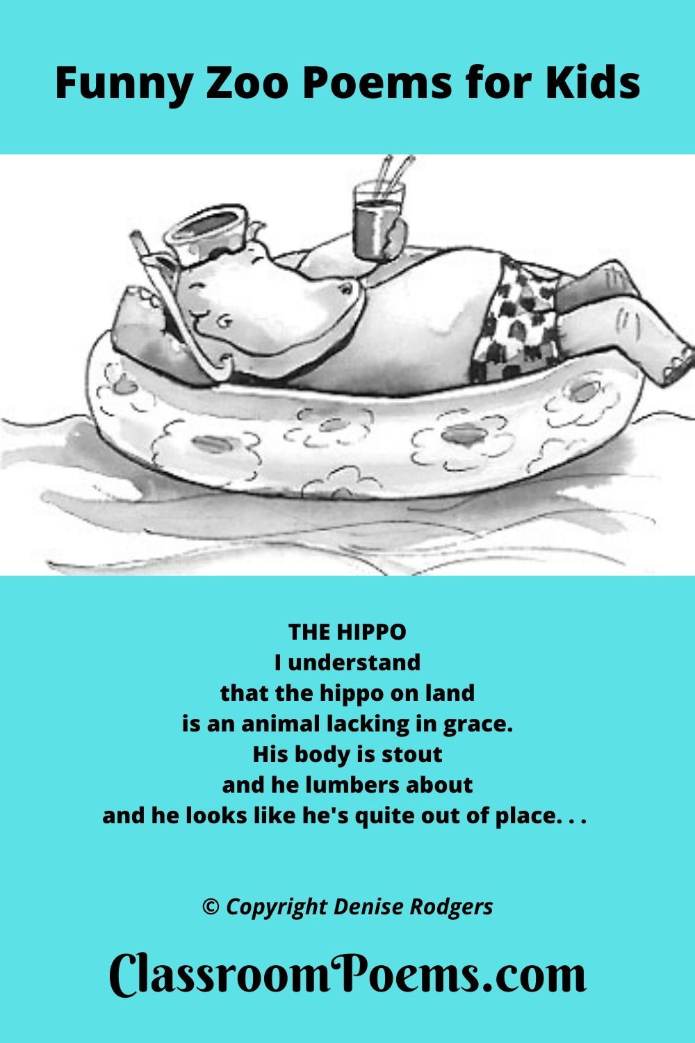 Hippo Poem. Floating hippo. Funny hippo poem by Denise Rodgers on ClassroomPoems.com.