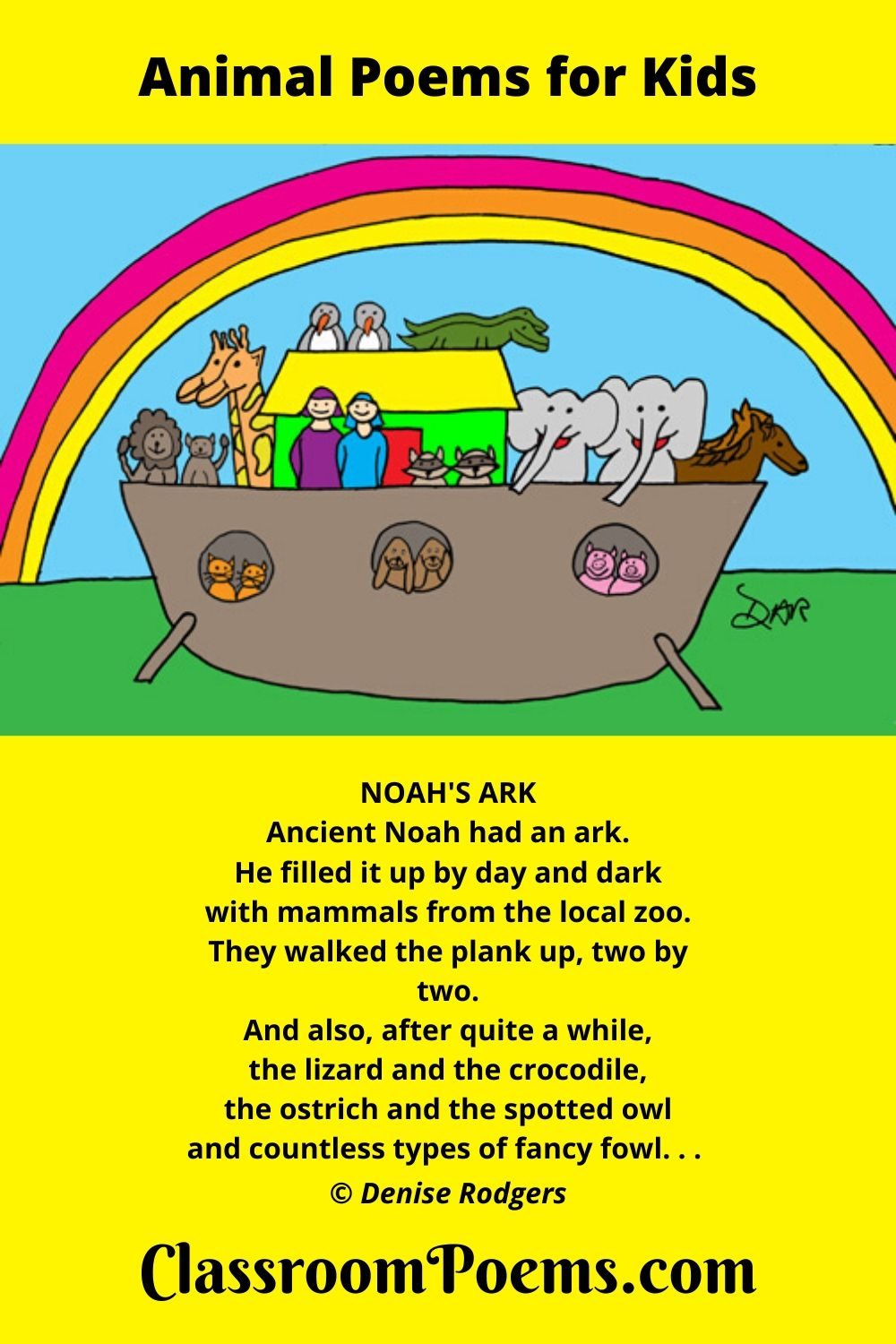 Noah's Ark drawing and poem by Denise Rodgers on Classroompoems.com.