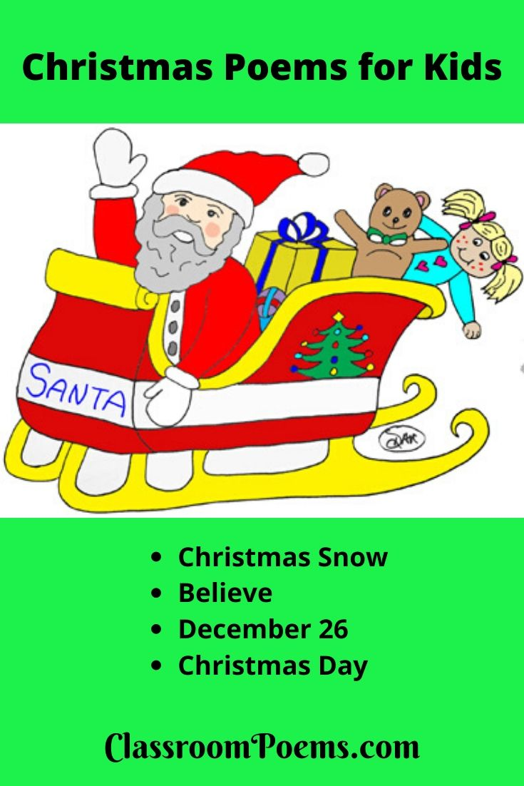 Santa and toys drawing Christmas poems for kids