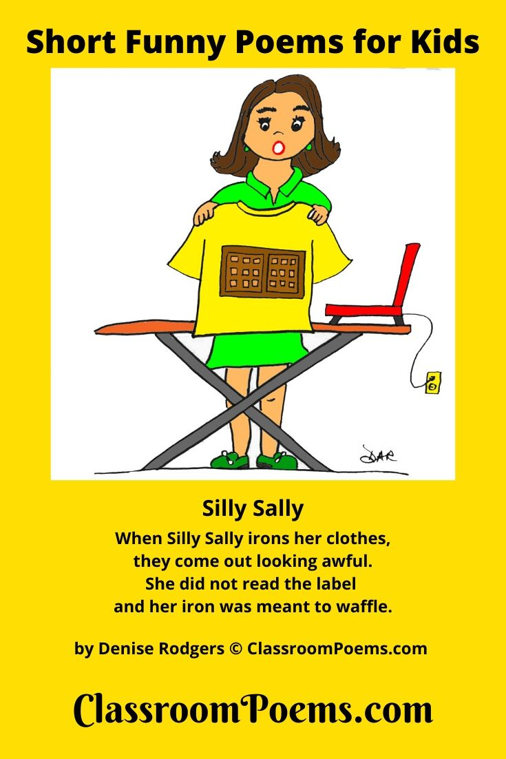 Silly Sally. Iron shirt with waffle iron.