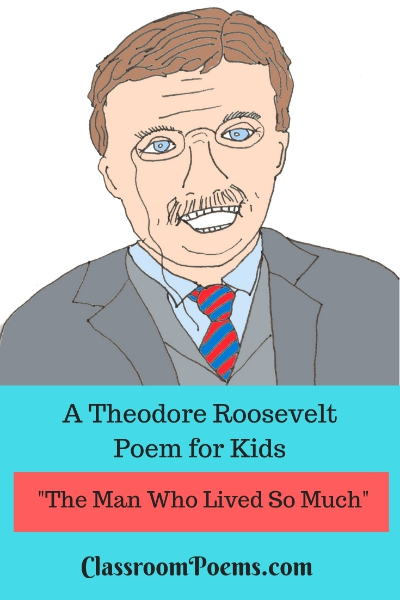 Theodore Roosevelt drawing and poem. Teddy Roosevelt drawing. Teddy Roosevelt cartoon.