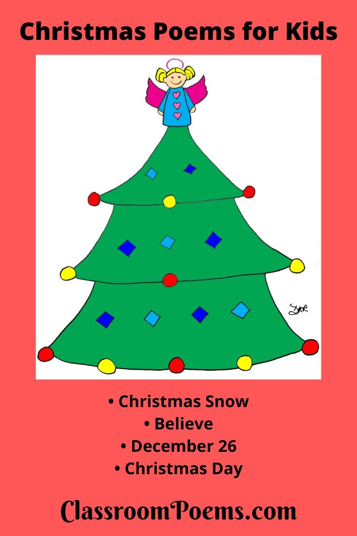 Christmas tree with angel drawing, and funny Christmas poems for kids.