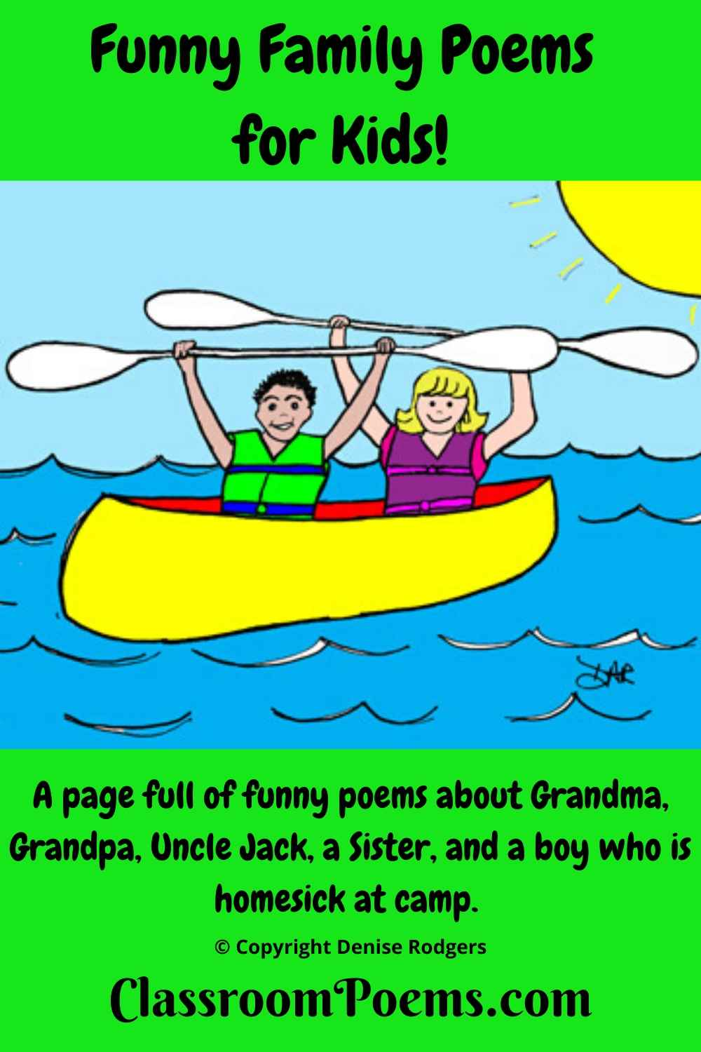 HOMESICK at summer camp, a funny family poem by Denise Rodgers at ClassroomPoems.com.