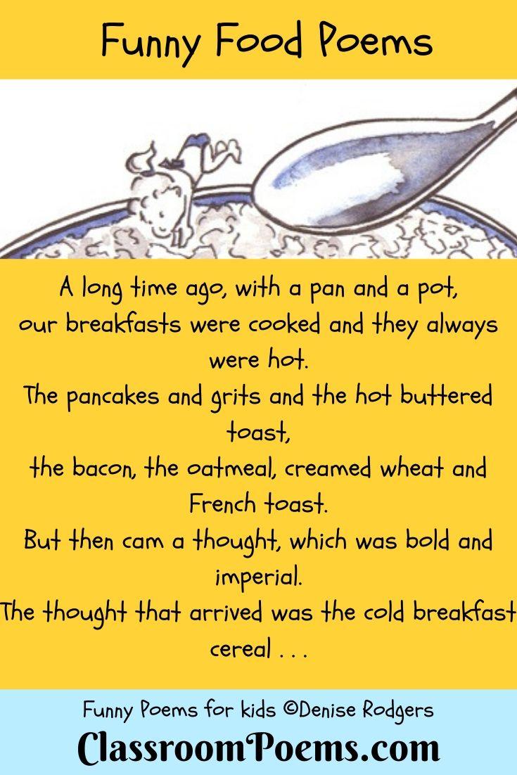 Food poem. Kids diving into cereal bowl.