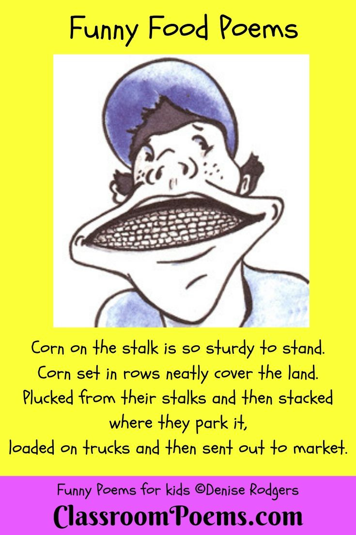 Food poem. Corn cob smile. Boy eating corn.