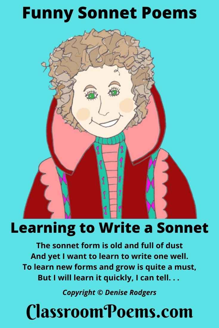 How to write a sonnet. Shakespeare cartoon. LEARNING TO WRITE A SONNET by The Poetry Lady Denise Rodgers on ClassroomPoems.com.