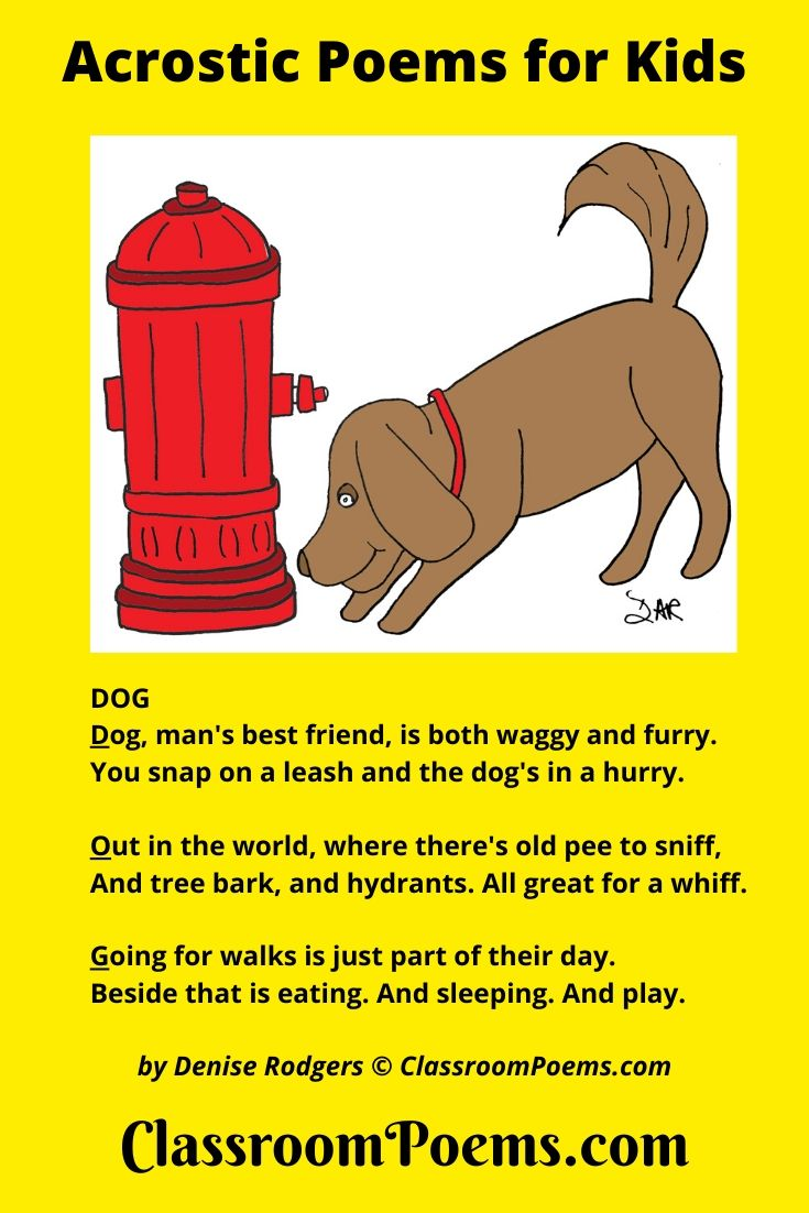 Dog sniffing fire hydrant. DOG acrostic poem for kids by Denise Rodgers on ClassroomPoems.com.