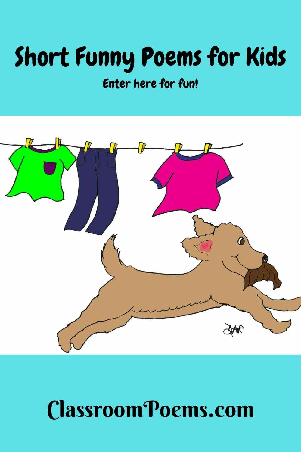 Short funny poems for kids by Denise Rodgers on ClassroomPoems.com. Dog stealing wig.