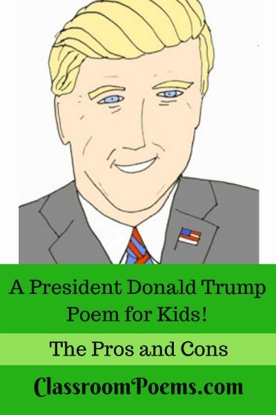 Donald Trump drawing and poem. Donald Trump cartoon drawing.