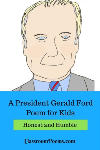 Gerald Ford drawing and poem. Gerald Ford cartoon drawing.