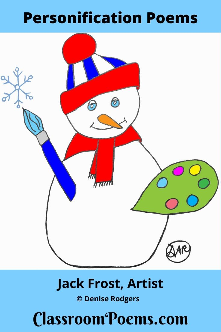 Snowman with paint palette drawing