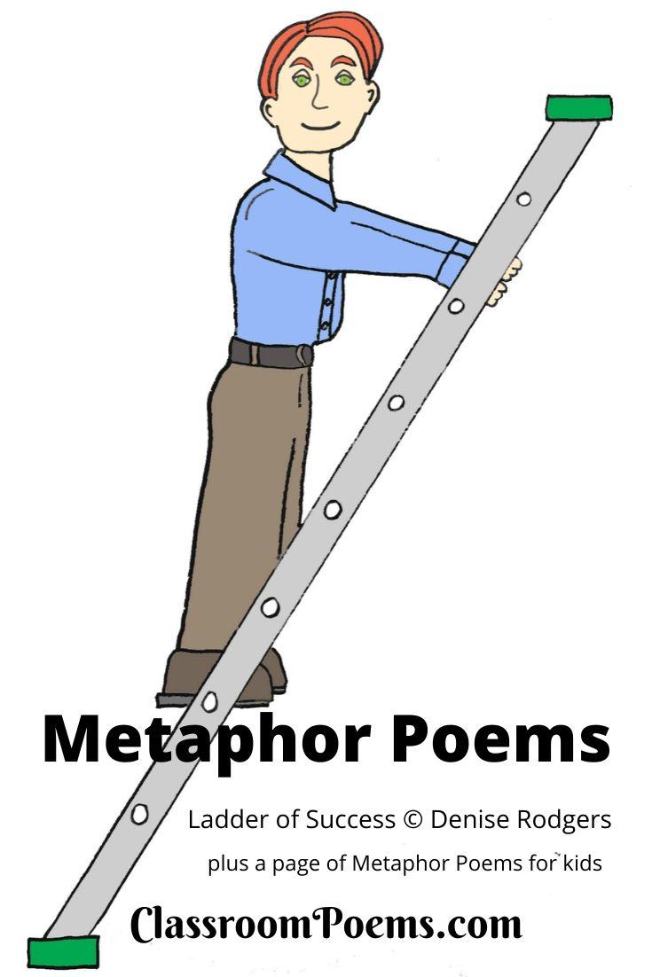 Man on ladder drawing.