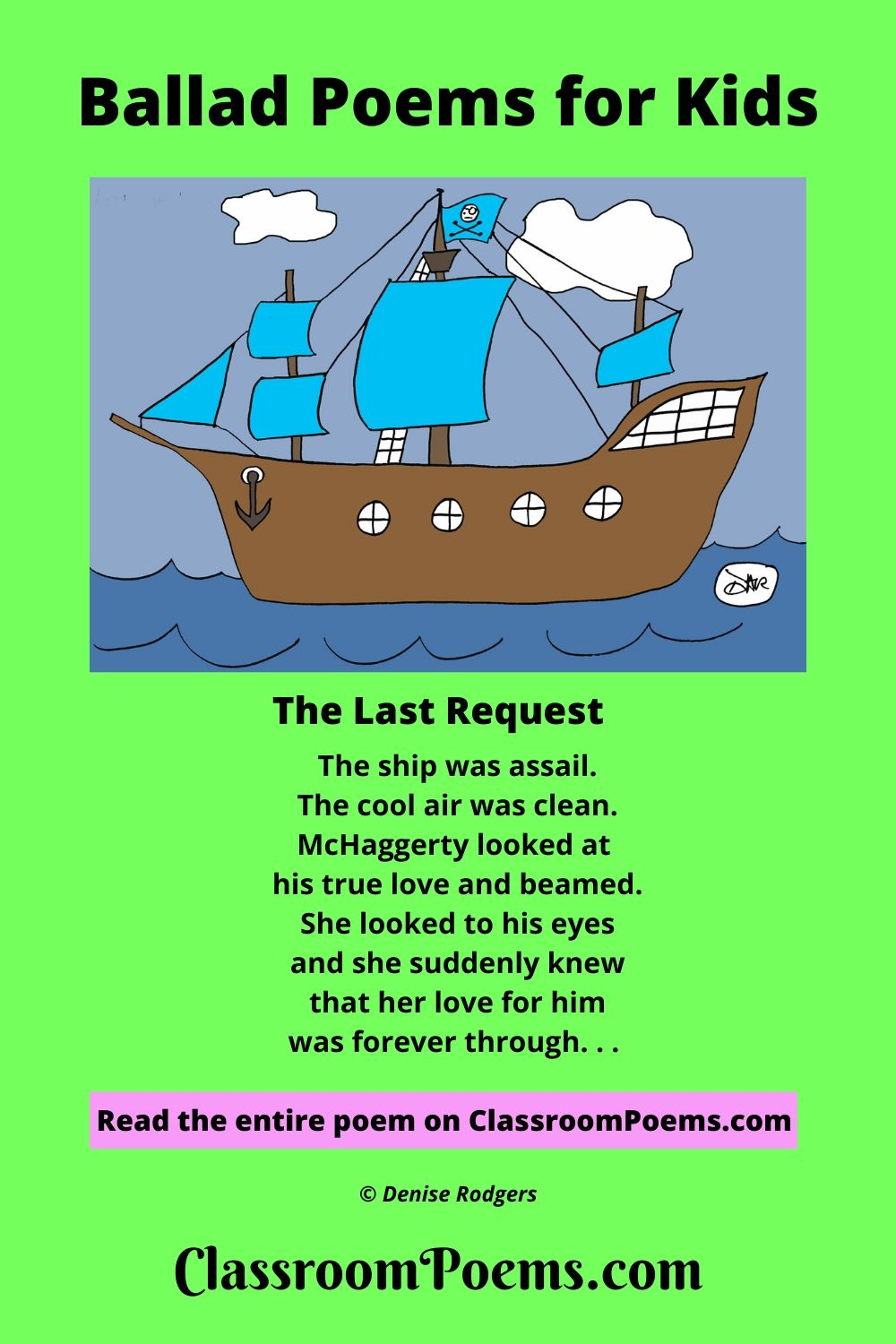 Pirate ship drawing. Ballad poems for kids.