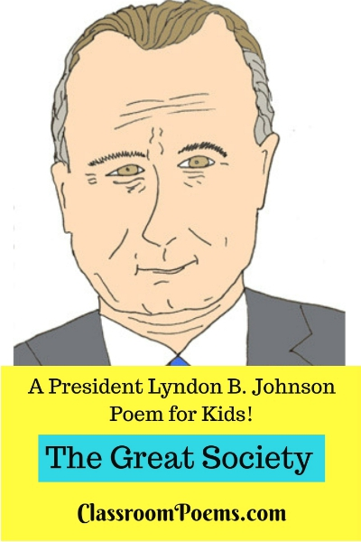 Lyndon Johnson drawing and poem. Lyndon Baines Johnson cartoon picture.