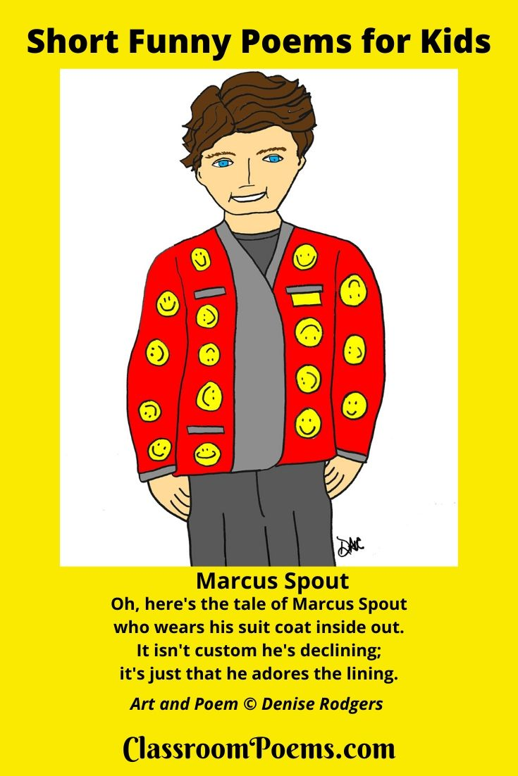 Marcus Spout suit coat inside drawing. Short funny poem Marcus Spout. By Denise Rodgers of ClassroomPoems.com.