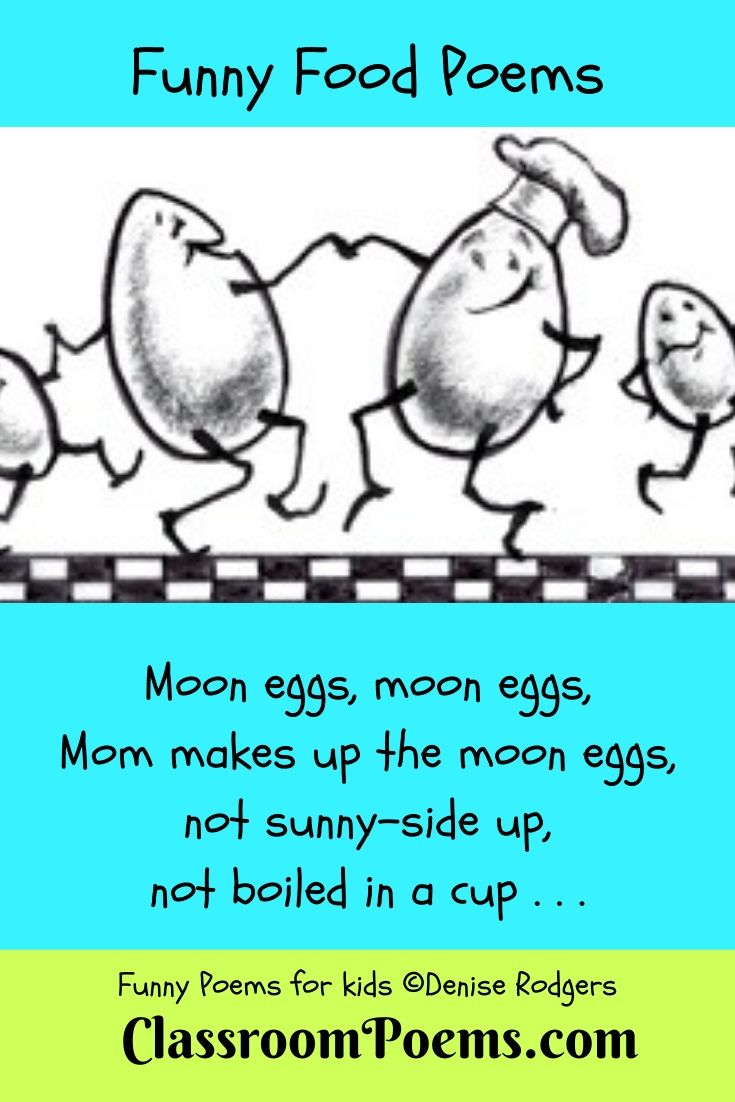 Food poem. Dancing egg drawing.