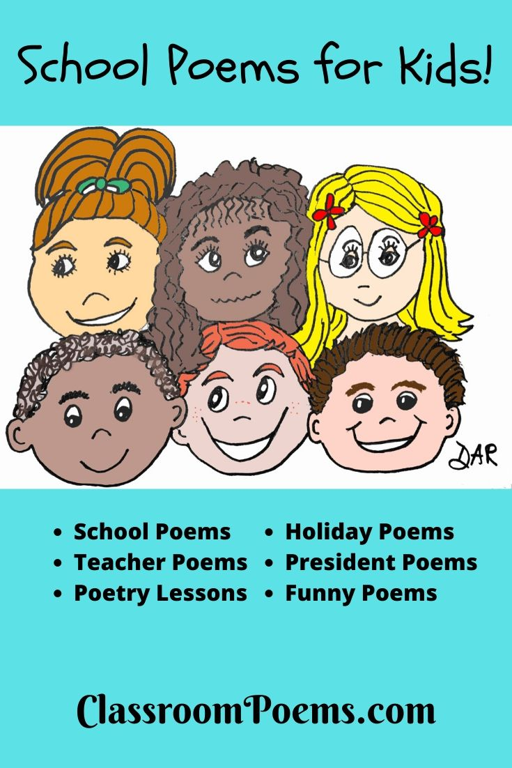 Classroom poems for kids by Denise Rodgers on ClassroomPoems.com. Smiling student faces.