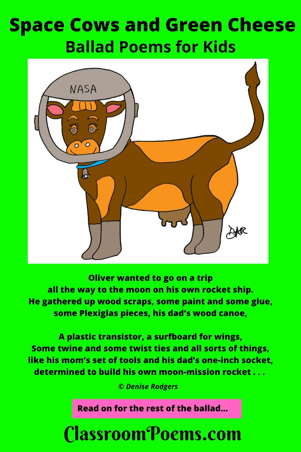 Space cow. Space cow poem. Space cow ballad for kids on ClassroomPoems.com.