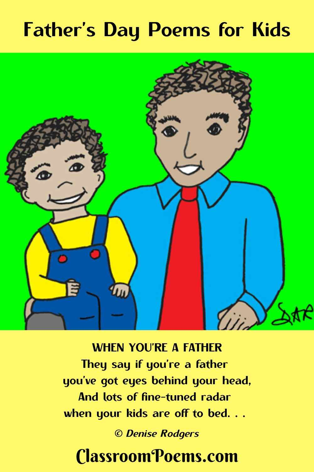Father and son Father's Day poem for kids by Denise Rodgers on ClassroomPoems.com.
